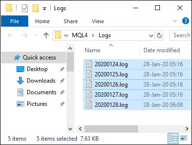 Expert Advisor Log Folder - Select All