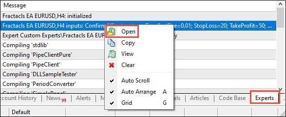 MT4's Expert Advisor Log Folder